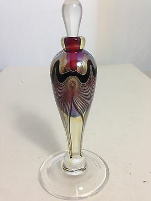 Marc Boutte Art Glass Iridescent Pulled Feather Perfume Bottle