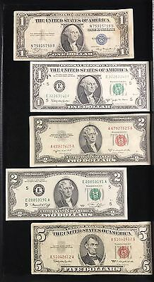 5 Note Lot $1 Blue Seal $1 Barr Note $2 Fed Reserve Note $2 Red Seal $5 Red Seal