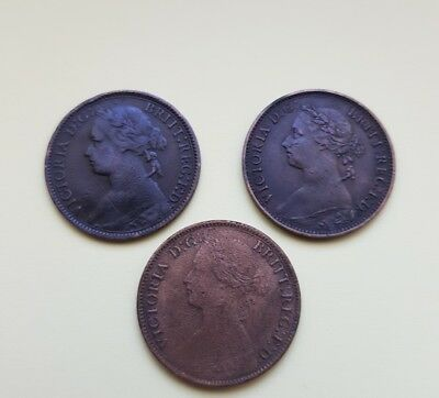 Victoria Farthings bronze coins in Good condition