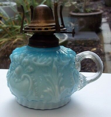 Victorian Oil Finger Thumb Lamp And Burner Turquoise Blue Moulded Glass Pretty