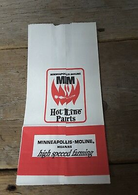 Vintage Minneapolis Moline Hot Line Parts Paper Bag Advertising - 13 x 6 inch