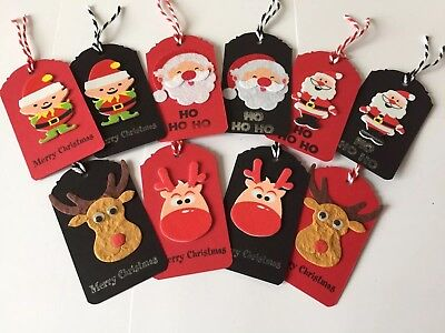 Handmade Christmas gift tags black/red Santa and Rudolph .