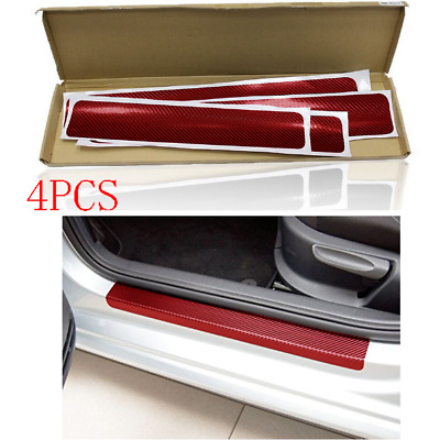 4Pcs Carbon Fiber Look Car Door Plate Door Sill Scuff Plate Anti-Scratch Sticker