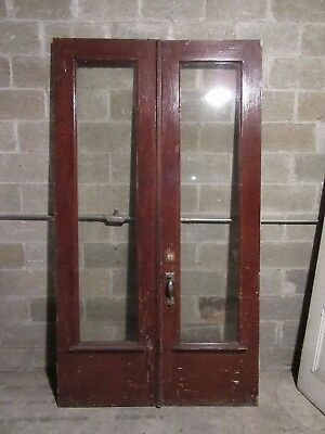 Antique Oak Double Entrance French Doors ~ 51.5 X 92.5 ~ Architectural Salvage