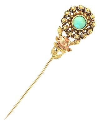 Antique Late Georgian Gold Turquoise Comet Tie / Stick Pin Circa 1830s