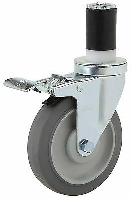 "Caster Total Lock Expandable Rubber Stem: Rubber on Poly Wheel: 5"" x 1-1/4"". Brg"