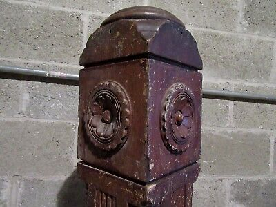 "~ Antique Carved Walnut Newel Post ~  45"" Tall ~  Architectural Salvage ~"