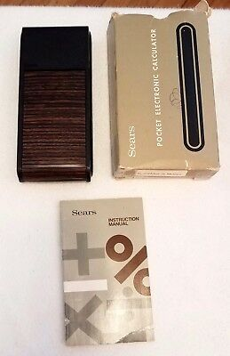 Vintage Sears Pocket Electronic Calculator 5822~roll top cover~box&instru~works