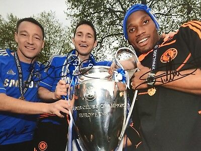 John Terry Frank Lampard Didier Drogba Original Hand Signed Photo 12x8 With COA