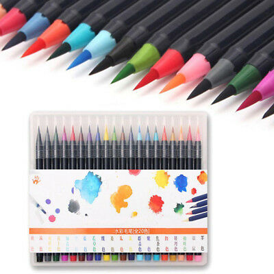 20-Color Pens Set Watercolor Drawing Painting Brush Artist Sketch & Manga Marker