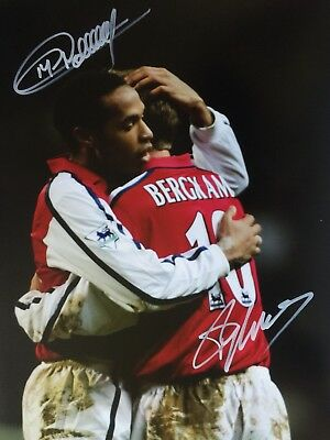 Thierry Henry Dennis Bergkamp Arsenal Original Hand Signed Photo 12x8 With COA