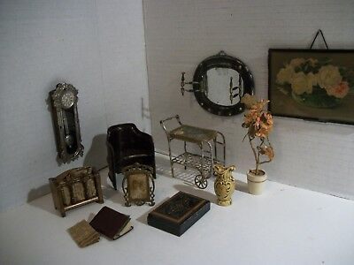 11 Pc. Antique German Dollhouse Miniature Items! Tin/Metal/Wood !!NICE!!