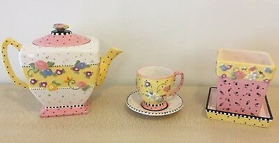 Mary Engelbreit Lot Meadow Teapot Cup Saucer Planter Flower Pot Pink Boxes