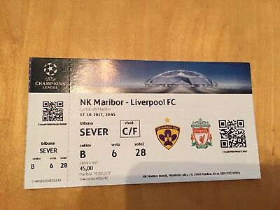 Maribor v Liverpool 17/10/2017 Match Ticket