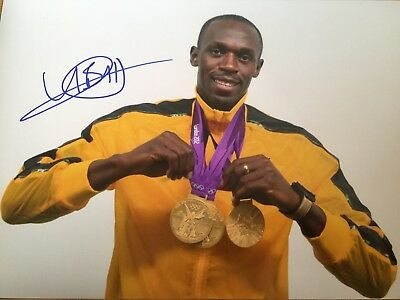 Athletics Usain Bolt Original Hand Signed Photo 12x8 With COA