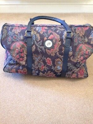Vintage Carlton Tapestry Weekend Bag Hold-all Retro Blue Floral Design Ex Con