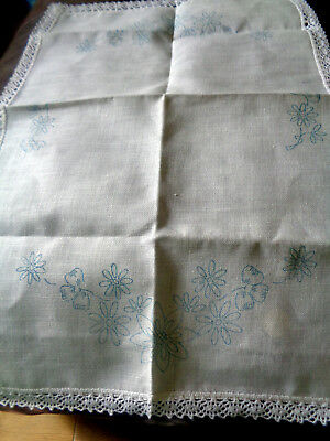 Vintage Tray Cloth Cotton Transfer Printed To Embroider Flowers Crochet Edge