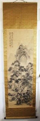 Antique Chinese Water Color Hand Painting On Silk Scroll