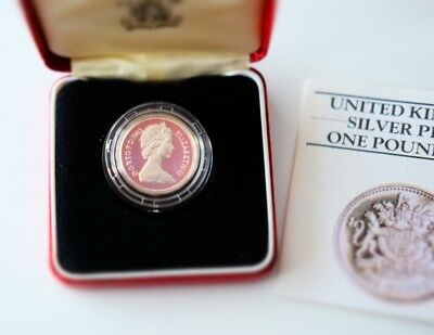 1983 silver proof Royal Mint £1 Pound Coin in case certificate of authenticity