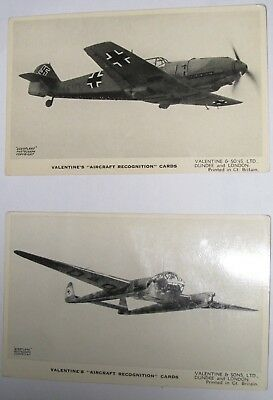 4 Aircraft recognition cards from Valentines
