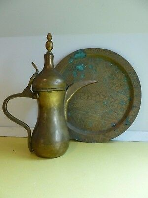 OLD Islamic Middle Eastern Dallah Coffee Pot and bronze/brass plate serving tray