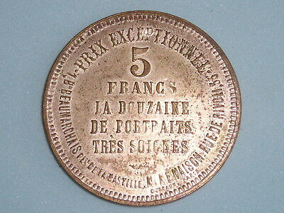 France Photographie Charles Stanislas 5 Francs 38Mm Plastic Scarce  (400