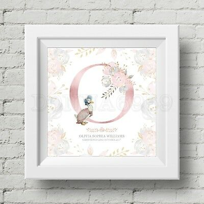 Personalised Jemima Puddle-Duck Print For New Baby/Christening Gift *Not Framed*