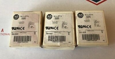 Lot of 3 ALLEN BRADLEY 595 B02 Auxiliary Contact Series B 595-B02