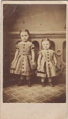 CDV 2 Small Girls in Fine Matching Off-the-Shoulder Dresses