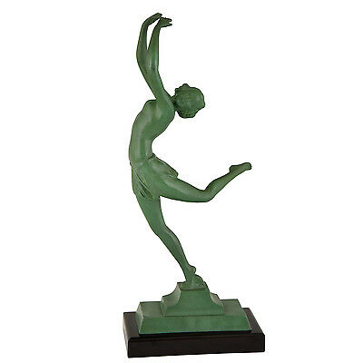 Art Deco sculpture of a dancer on black marble base, France 1930 original