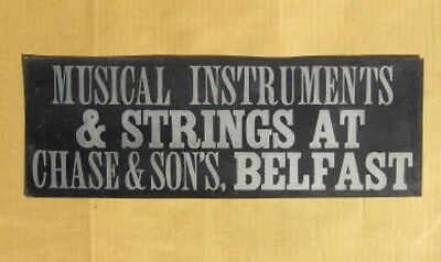 Original Circa 1907 CHASE & SONS Musical Instruments Tin Sign BELFAST MAINE ME