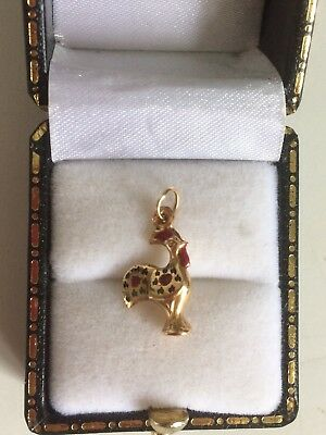 9ct Gold Enamel Cockerel Charm/Pendant