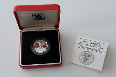 1985 Royal Mint Silver Proof Piedfort £1 Pound Coin certificate of authenticity