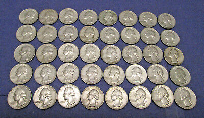 40 1964 D Washington Quarters - Full Roll of 90% Silver Coins
