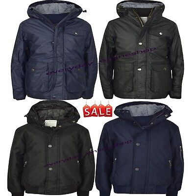 New Boys Kids Quilted Fur Lined Warm Thick Padded Jacket Coat Children Hooded
