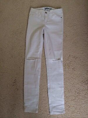 New Look White Ripped Skinny Jeans Size 8 L31
