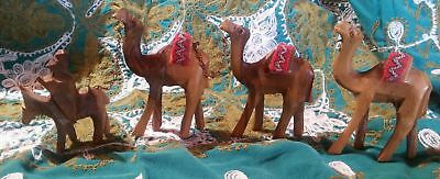 Hand carved Donkey Camels Rider