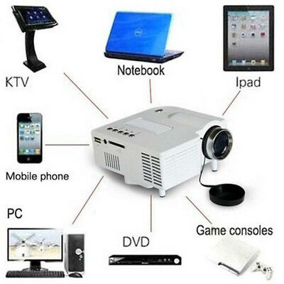 1080P HD Home Multimedia Cinema & Theater Mini LED Projector USB AV TV VGA HDMI