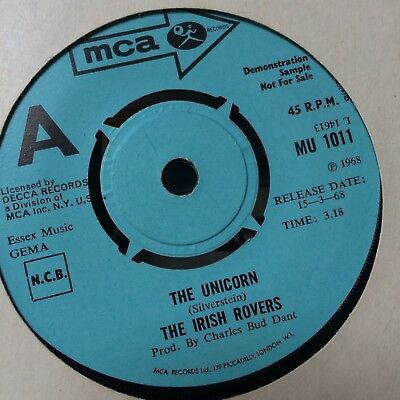"Rare Mca Demo 7"" Single The Irish Rovers The Unicorn / Rattling Bog    Mu1011"