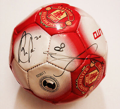 Man U League Champions 12-13 hand signed ball by Young, Anderson and Van Persie