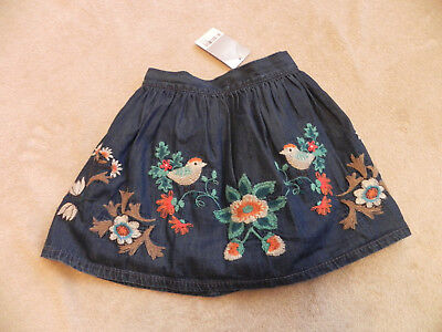 BNWT Next Denim Embroidered Skirt ~ 18-24 Months