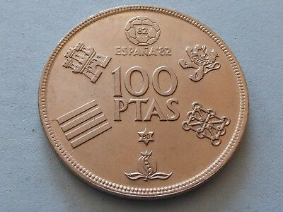 Spain 100 Pesetas 1980 Football 82 High Grade  (247