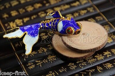 Vintage Chinese Articulated Silver Blue Green Cloisonne Filigree Koi Fish Pendan