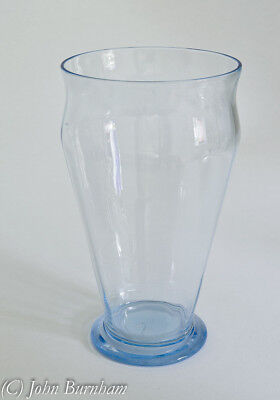 Whitefriars Glass Ribbed Vase in Sapphire Blue - Harry Powell British Art Glass