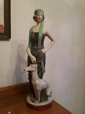 Large art deco flapper with dog figure