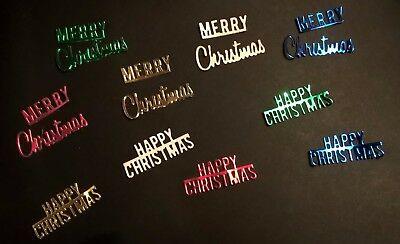 20xDIE CUT 'MERRY CHRISTMAS/HAPPY CHRISTMAS' BANNERS FOR CHRISTMAS CARD TOPPERS