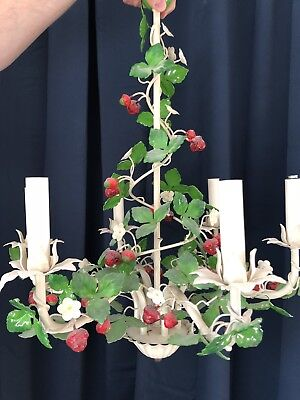 Strawberry Tole Chandelier Pair