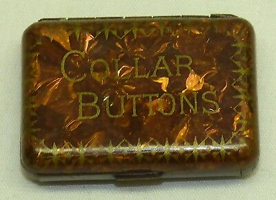 Antique Collar Buttons Metal Tin Jahncke's Patent Pill Box Size Faux Tortoise