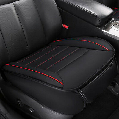 Black PU Leather Car Front Seat Cover Mat Bamboo Charcoal Breathable Cushion Pad