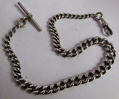 Fabulous Victorian  graduated solid sterling silver pocket watch albert chain